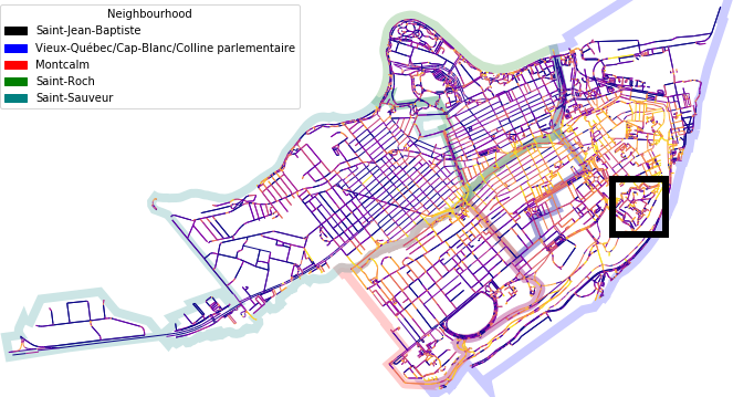 Location of the citadel on the street network. More intense colors indicate steeper street grades