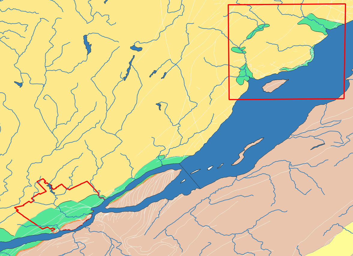 Geological map of Quebec and Baie-Saint-Paul with red bounding box around the Baie-Saint-Paul crater