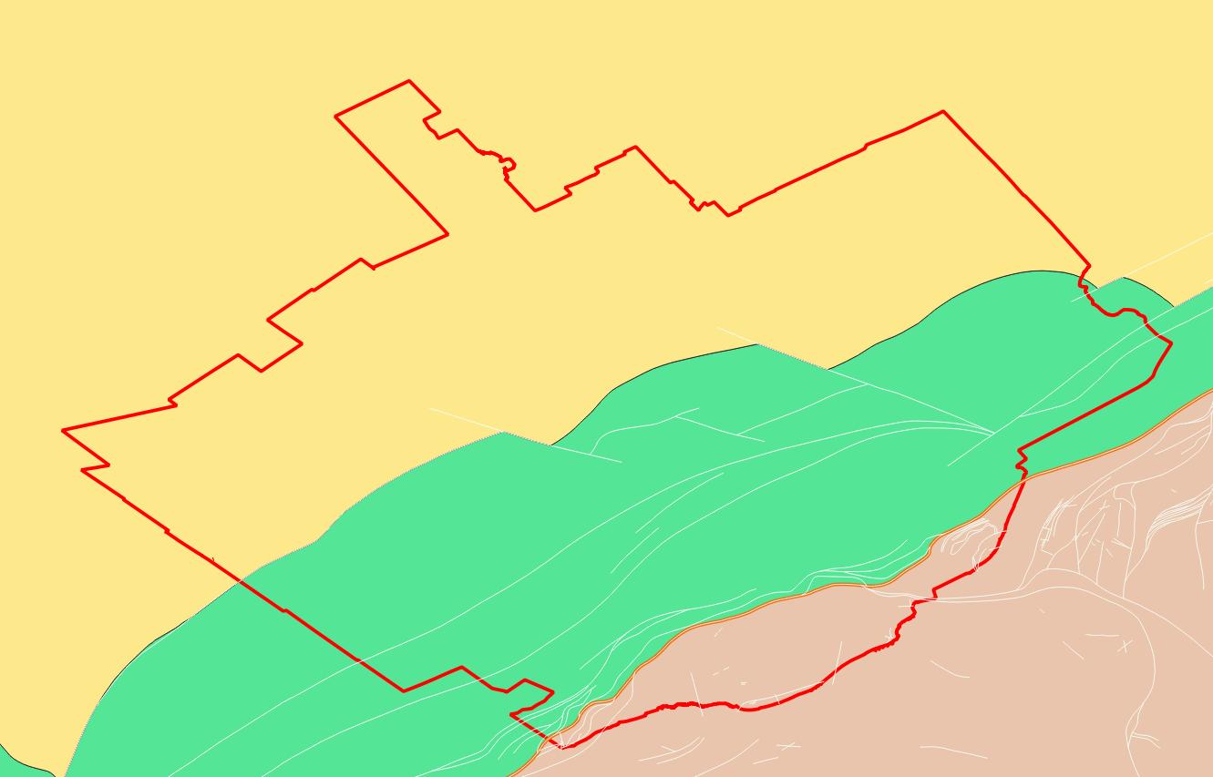 Geological map of Quebec. Logan line shown in orange.