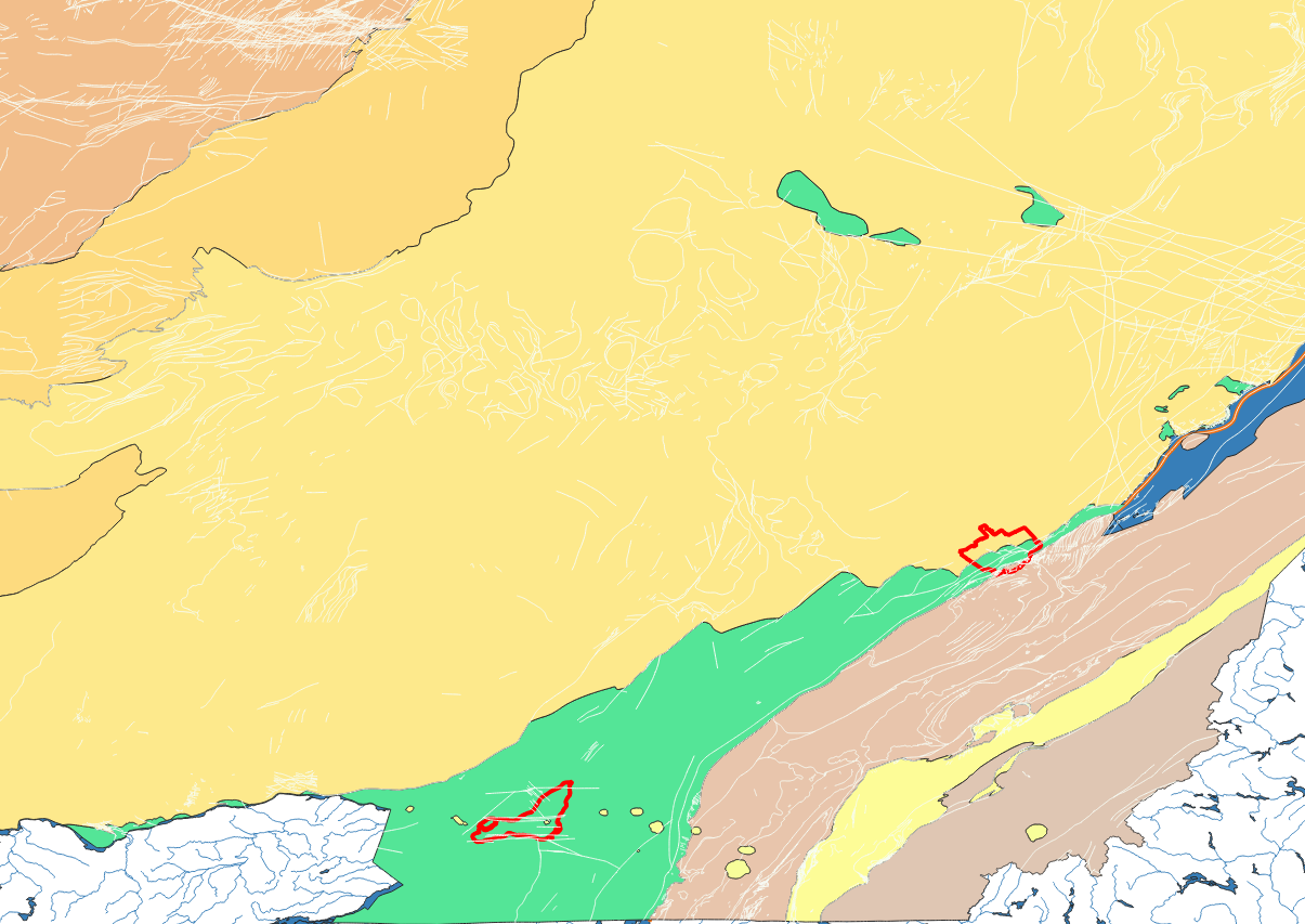 Geological map of southern Quebec. Boundaries of Montreal and Quebec are shown in red and fault lines in white.