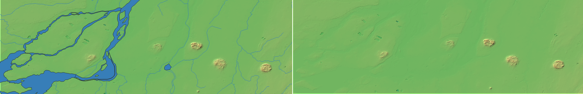 Topographic map of Montreal and the Monteregies Hills. Left with water, right only topography