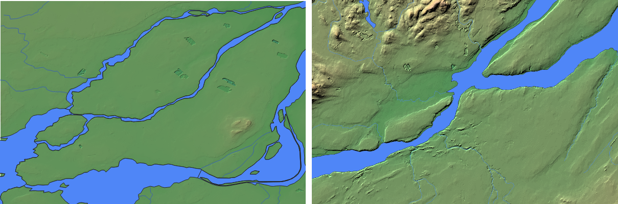 Montreal vs Quebec elevation - topography and water