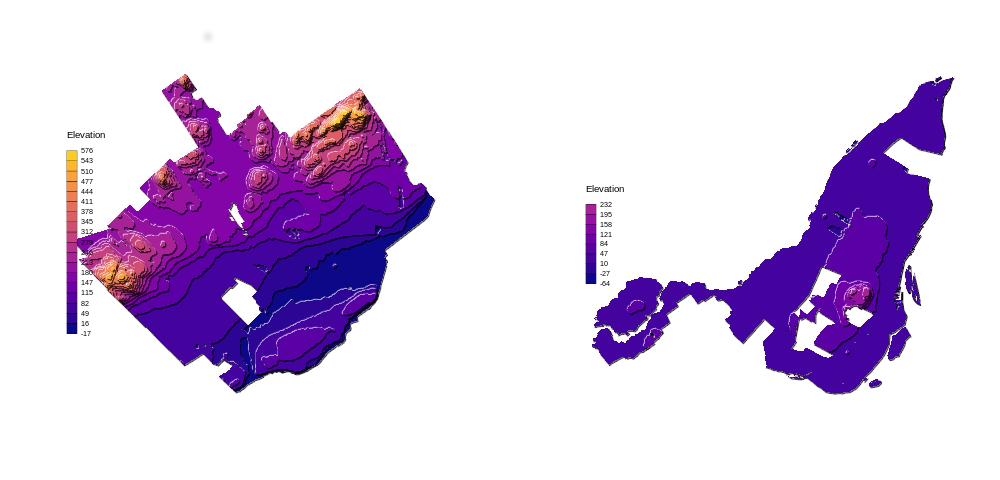 Montreal vs Quebec elevation - contour maps