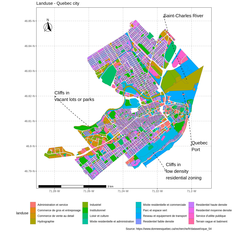 Landuse map - La Cite-Limoilou, Quebec City