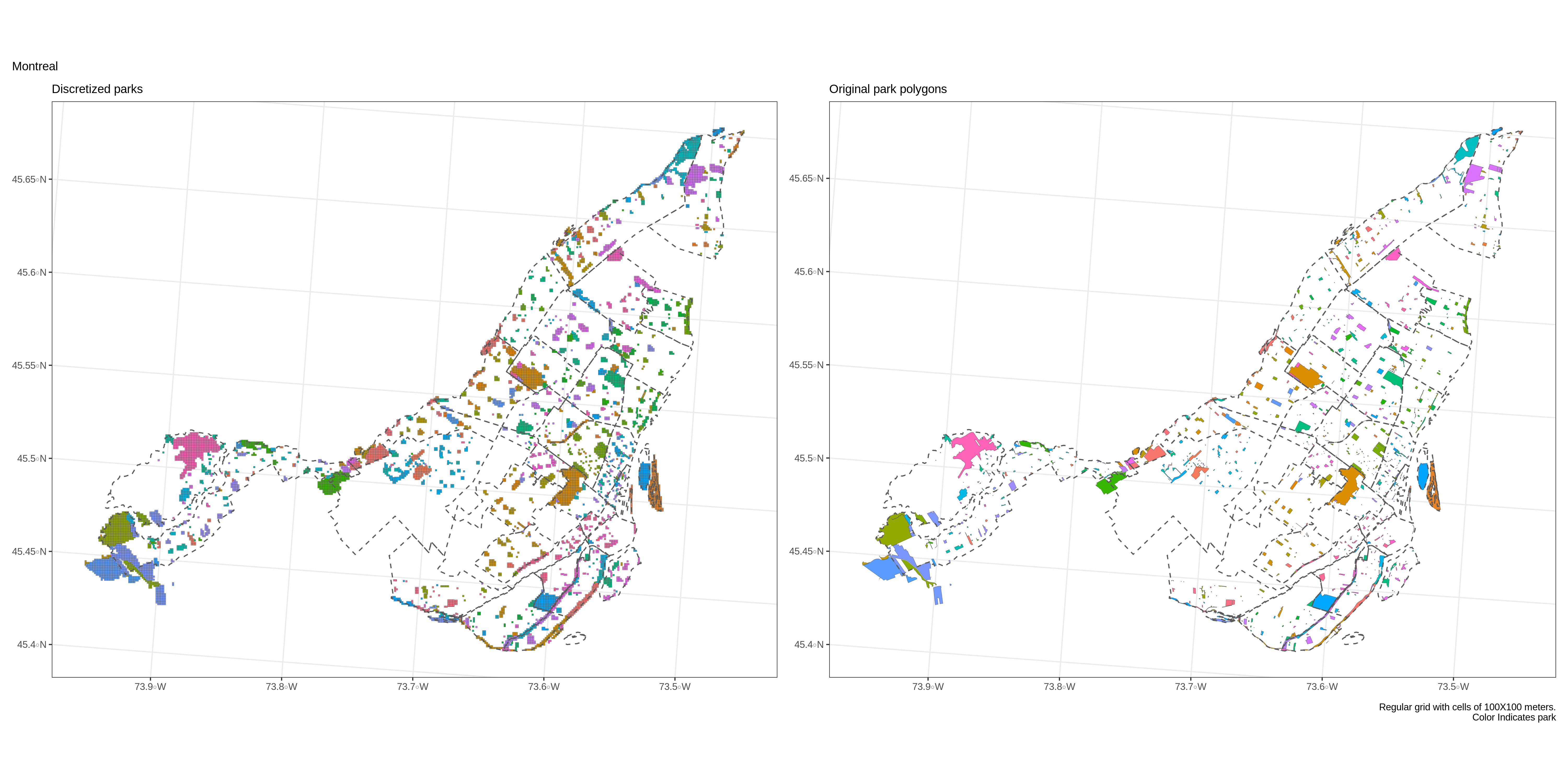 Given a sufficiently fine grid, the difference between the original park area (right) and the discretized area (left) becomes negligible. Even if the voronoi algorithm scales well with the number of points, this step can become long for very large regions and very fine grids. Regular cells of 1 ha (100 square meters) used in the figure.