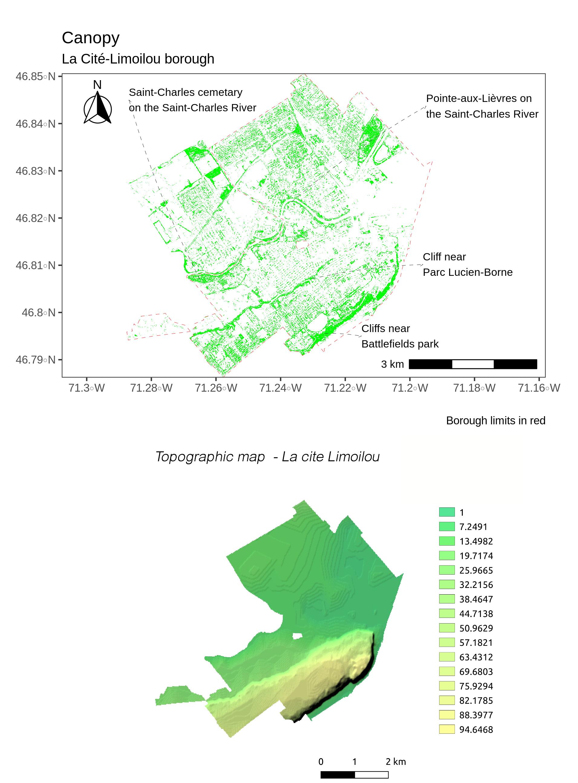 Canopy and topography - La Cite-Limoilou, Quebec City