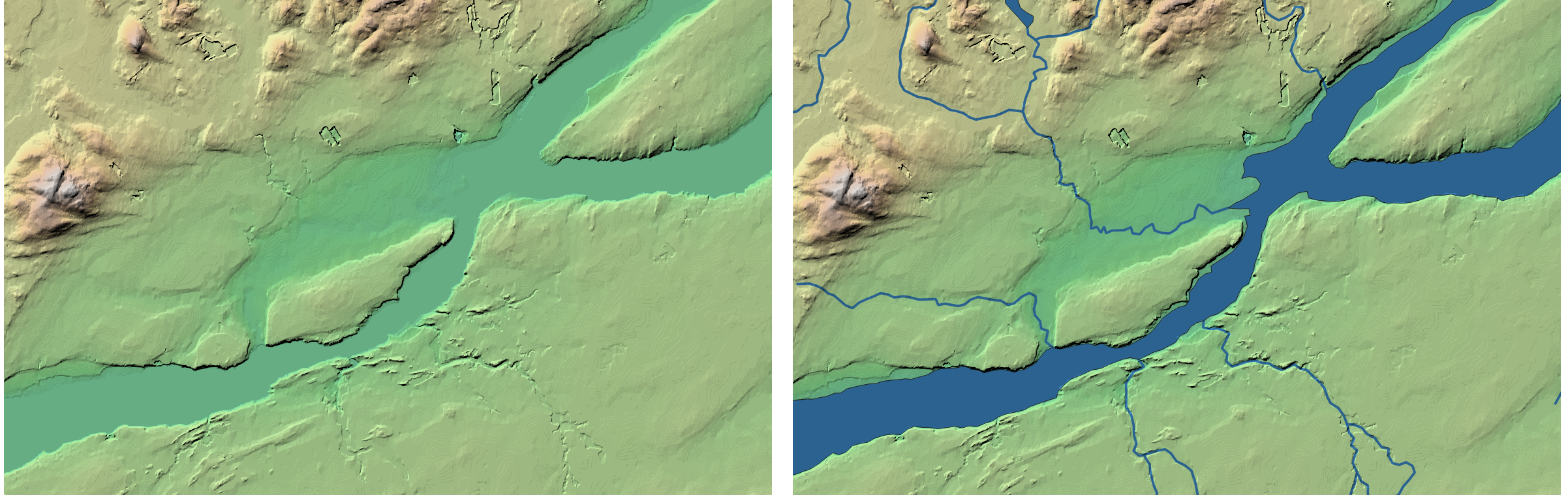 Québec City topographic map - with and without hydrography