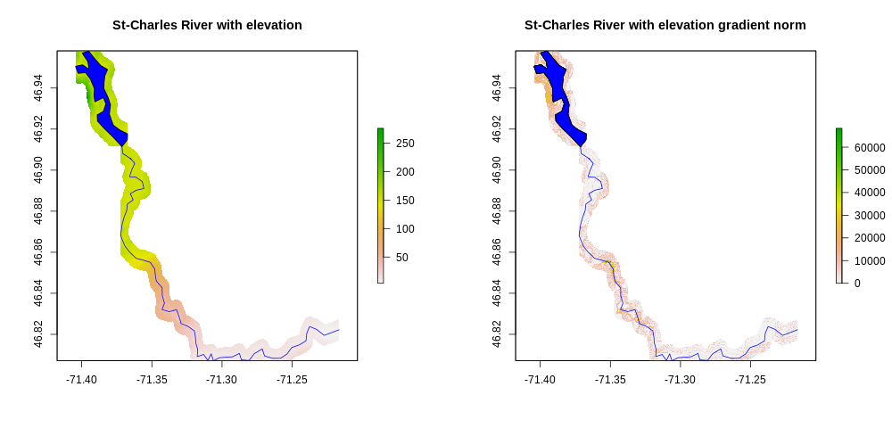 Topography of terrain near the Saint Charles River - left: elevation; right: elevation gradient norm
