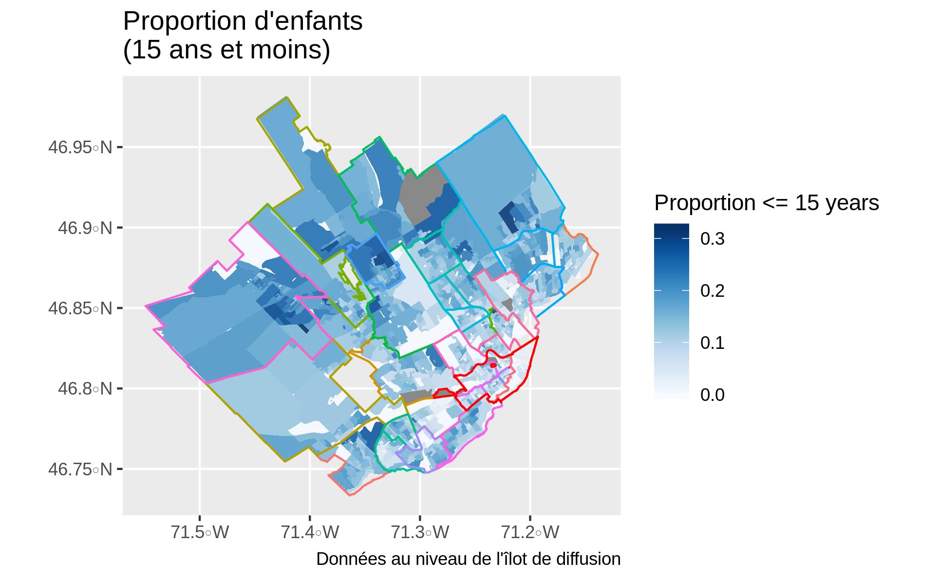 Proportion d'enfants par îlot de diffusion. Le gris indique des valeurs manquantes. Un bleu plus foncé indique une proportion d'enfants plus élevée