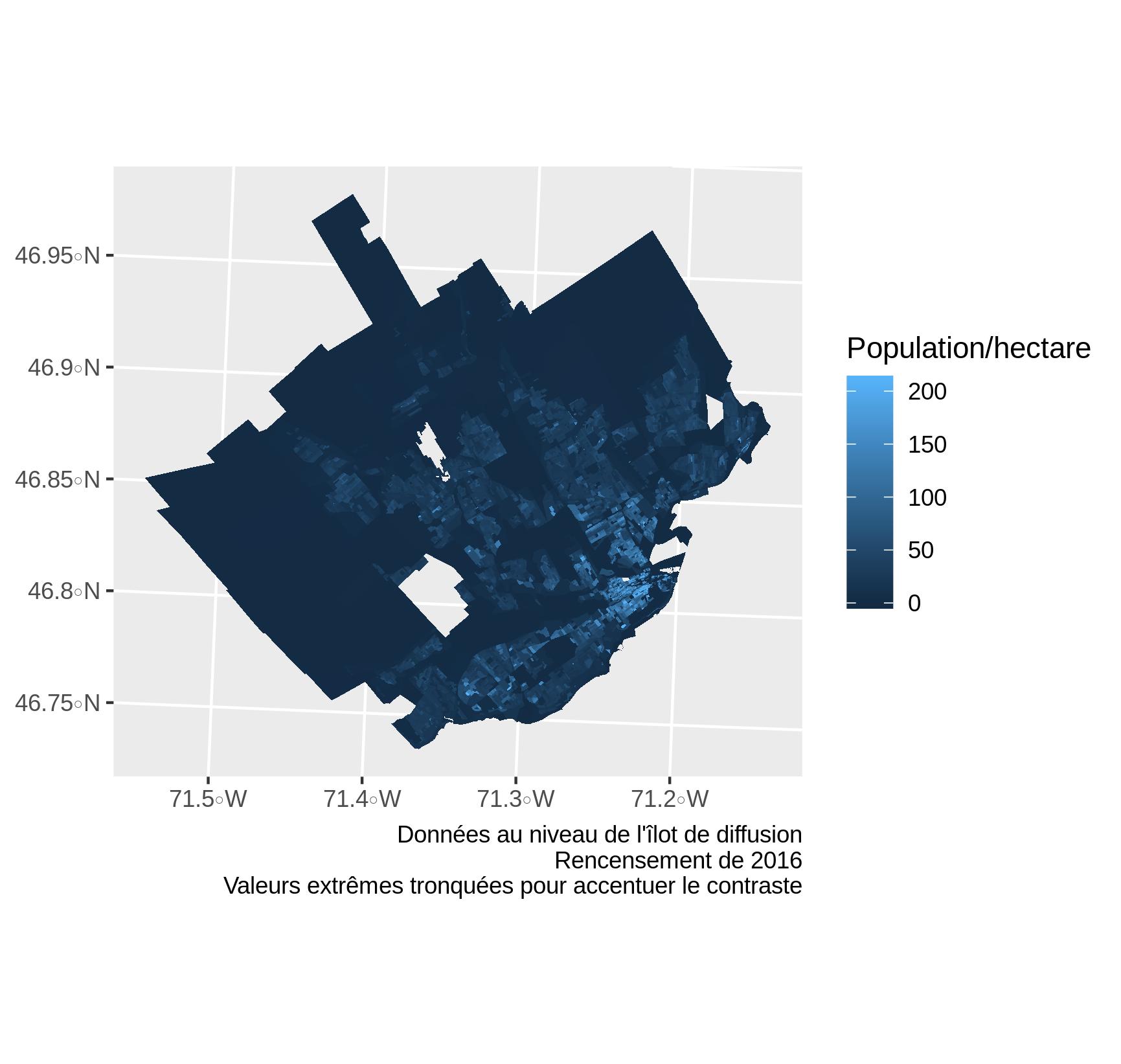 Densité de population par îlot de diffusion. Les zones en bleu foncé sont peu ou pas peuplées. La population est concentrée dans une région beaucoup plus petite que la superficie totale de la ville.