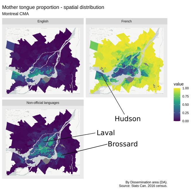 Montreal language spatial distribution