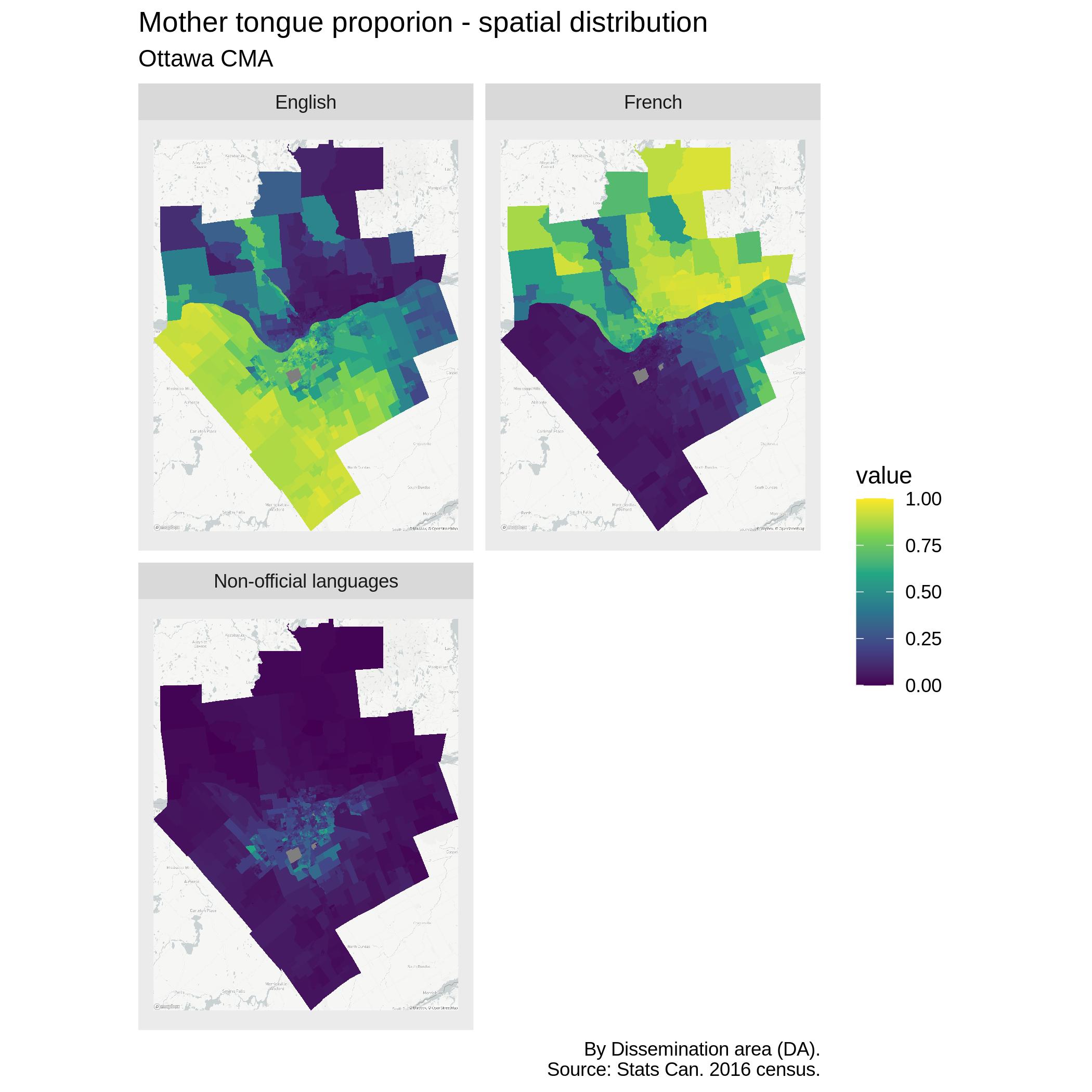 Ottawa language spatial distribution