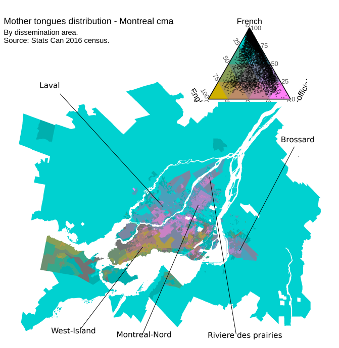 Montreal tricolor map. Intense mustard, pink and teal indicate dissemination areas (DA) with a high proportion of anglophones, allophones and francophones, respectively. Muted colours represent mixed areas. Points in the triangle in the top right indicate individual DAs. Points closer to one of the three extreme points indicate homogeneous DAs.